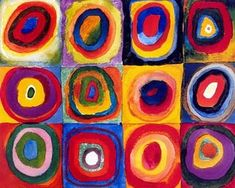 Color Study of Squares by Wassily Kandinsky Mini Puzzle. Wassily Kandinsky is credited with painting the first modern abstract works. Kandinsky For Kids, Kandinsky Art, Art Lessons For Kids, Art For Kids, Poster Xxl, Circle Painting, Kunst Poster, Circle Art, Free Art Prints