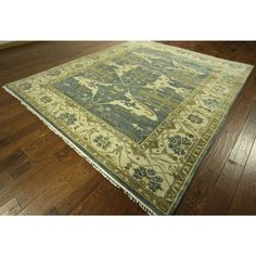 New Oushak Fish Design Blue/ Ivory Hand-knotted Wool Oriental Area Rug (8' x 10') - 17598889 - Overstock - Great Deals on One Of A Kind Rugs - Mobile