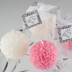 Mini bola de Rose del favor de la vela (blanco)