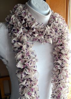 Floral Ruffle Scarf Lightweight Chiffon Purple and by LazyTcrochet