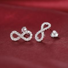 Bling Bling Sterling Silver Infinity Stud Earrings
