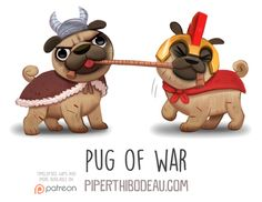 Daily Paint 1563. Pug of War by Cryptid-Creations