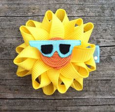 Sun Ribbon Sculpture Hair Clip - Toddler Hair Clips - Girls Hair Accessories... Free Shipping Promo. $4.25, via Etsy.