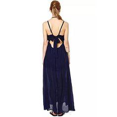 Sexy Backless V-neck Bowknot Slit Hem Chiffon Sling Dress