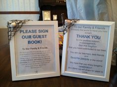 """Bought these frames at the Christmas Tree Shop, made the signs inside & then hot glued the fish net & shells onto the corner to """"beach"""" it up!!"""