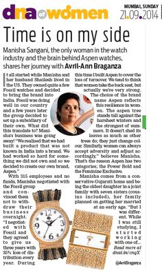 Manisha Sangani, the only woman in the watch industry and the brain behind ASPEN watches, & JUST WATCHES retail shares her journey with Avril-Ann Braganza in DNA.