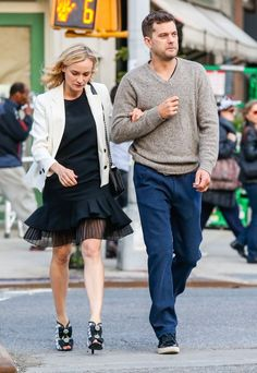 Diane Kruger & Joshua Jackson Out For A Stroll In New York lbd white jacket