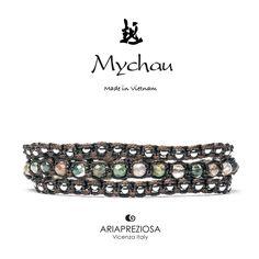 Mychau 2+1 - Bracciale Vietnam originale realizzato con pietre naturali Agata Muschiata