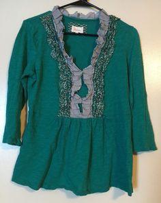 Anthropologie Deletta Women's 3/4 Sleeve Green Blouse Large #Deletta #Blouse
