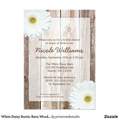 White Daisy Rustic Barn Wood Bridal Shower