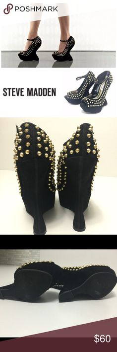 """Steve Madden Gammblee Stud Black Platform Shoes 7 Steve Madden Preowned mint condition studded gold tone   What to wear to POSHFEST...look no further!!! Unique STYLE  NAME  Gammblee FEATURES  studded peeptoe platform heels  adjustable ankle strap w/ buckle  uniquely sculpted wedge Size 7 COLOR  Black MATERIAL  Faux Suede upper HEELS  approx. 6"""" incl 1 3/4"""" platform Steve Madden Shoes Platforms"""