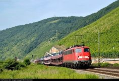"""A dutch """"Autoslaaptrein"""" (car sleep train) passes the Bopparder Hamm, the largest vine yard in the middle rhine valley."""