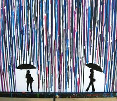 Lesbian Silhouette Art Wax Painting, The Perfect Gift For Your Favorite Lesbian Couple! Only $56 in my Etsy Shop: https://www.etsy.com/listing/219761253/lesbian-art-in-the-rain-couple