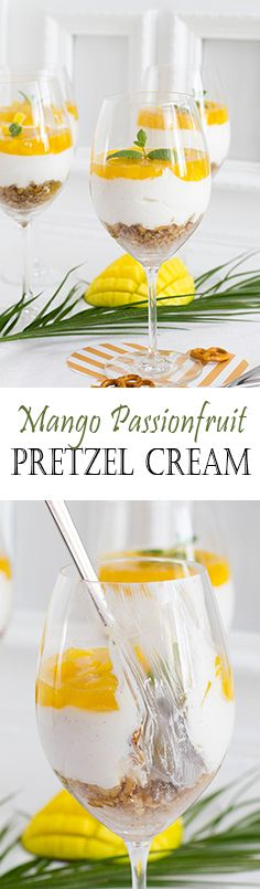 Mango, Passion fruit, Vanilla and Pretzel Dessert in a glas. Perfect for dinners with friends