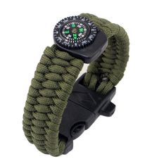 """Bracelet,Pikolai Outdoor Sports Paracord Survival Bracelet Rope Compass Starter Emergency Tools (Green). Material:Plastic / nylon resin. Strap length : About 23cm/9"""". Table Bandwidth : 25mm/0.98"""". Dial diameter: 0.4cm/0.16"""". Thickness: 8mm/0.3""""."""