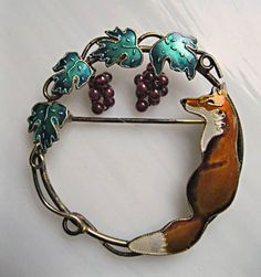 Fox and Grapes Brooch Enameled Sterling Vermeil Garnet Grape Clusters, Iconic Fables Image by GemParlor on Etsy