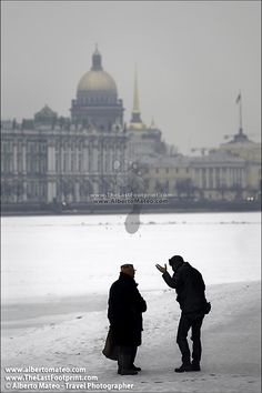 Friends chatting on River Neva in Winter, Saint Petersbourg, Russia. - Original Fine Art Print by Alberto Mateo, Travel Photographer.