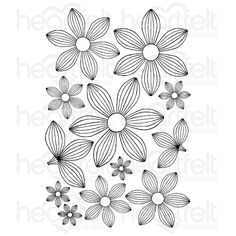 Heartfelt Creations Striped Sun Kissed Fleur Cling Stamp Set now available at The Rubber Buggy Leaf Template, Flower Template, Quilling Patterns, Tangle Patterns, Heartfelt Creations, Sunflower Cards, Hand Drawn Flowers, Flower Stamp, Scrapbook Embellishments
