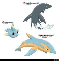 063, 064, 065 - Dolphin Fakemon by ~LeafyHeart on deviantART #Pokemon