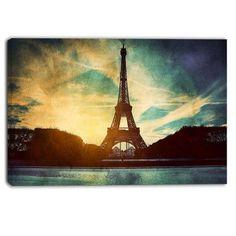 DesignArt Eiffel Tower Retro Style Cityscape Photographic Print on Wrapped Canvas Size: