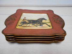Raymond Waites Home Design SET OF 4 Poreclain Old Fashion Horse Drawn Carriages
