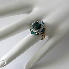 "Swarovski crystal woven ring original design ""Marquis"" in Emerald"