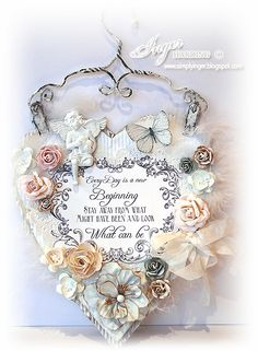 Shabby chic Wall Hanging made by Inger Harding.