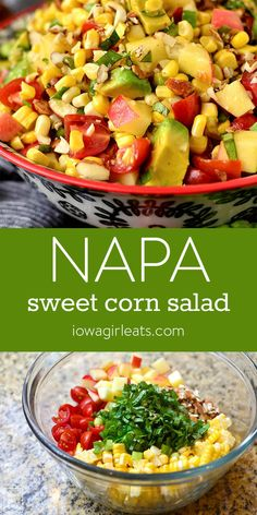 Napa Sweet Corn Salad is full of flavor and crunch! Serve as a fresh and healthy side dish with dinner, or take to your next picnic or potluck.   iowagirleats.com #glutenfree