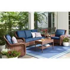 Hampton Bay Cambridge Brown Wicker Outdoor Patio Swivel Rocking Chair with Standard Midnight Navy Blue Cushions - The Home Depot Resin Wicker Patio Furniture, Used Outdoor Furniture, Backyard Furniture, Rustic Furniture, Antique Furniture, Coaster Furniture, Modern Furniture, Furniture Logo, Furniture Design