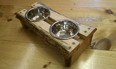 Toy dog / cat Rustic wooden double diner dish by Naturalistick, $40.00