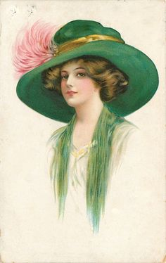 Full Sized Image: lady facing centre-left with cream dress, green throw & hat, pink feathers in hat band Moda Vintage, Vintage Diy, Vintage Girls, Images Vintage, Vintage Pictures, Vintage Postcards, Victorian Art, Victorian Women, Edwardian Era