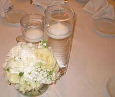Bubble bowl centerpieces with white peonies, stock, roses, hydrangea, and spray roses. Bowl Centerpieces, White Peonies, Spray Roses, Town And Country, Hydrangea, Bubbles, Table Decorations, Floral, Home Decor