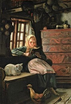 """""""Sunday Afternoon - Interior With A Girl Reading"""" by Michael Peter Ancher (1849. """""""
