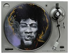"""Hendrix Portrait print by Black Ink Art. Digital print of the original painting """"Jimi"""" which was painted on a record. by Printed on 100 lb. cover stock with white border. Vinyl Record Store, Vinyl Record Art, Black Ink Art, Poster Pictures, Jimi Hendrix, Poster Wall, Art Images, Wall Art Decor, Cool Things To Buy"""