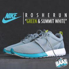 """Nike Rosherun """"Green & Summit White""""   A fresh Roshe Run from the """"Toe Pack""""   www.sneakerbaas.nl   #NIKE #ROSHERUN #FRESH #SNEAKERBAAS code: 511881-300"""