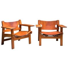 Pair of Beautifully Patinated Spanish Chairs by Børge Morgensen. For Fredericia ca.1960's | 1stdibs.com