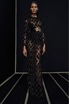 PRE FALL Balmain 2016 - Transparent black dress with culotte and a big belt