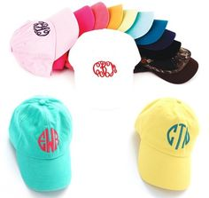 Top off your outfit with one of these sporty personalized monogrammed baseball caps.