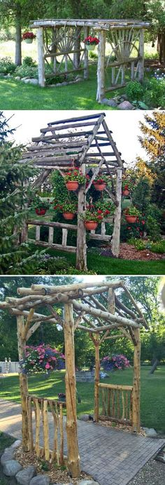19 Amazing DIY Tree Log Projects for Your Garden,Tree logs and fallen tree trunks are great materials for nature-inspired garden decorations. They will add rustic touch to your garden and will be als. Log Projects, Diy Garden Projects, Outdoor Projects, Garden Arbor, Garden Gates, Tree Logs, Wood Tree, Tree Stumps, Wood Wood