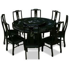 """60in Rosewood Pearl Inlaid Design Round Dining Table with 8 Chairs by ChinaFurnitureOnline. $4190.00. Dimensions: 60""""Dia. x 30""""H. The symbol of unity and eternity represented in the circular shape is prevalent in Chinese art as seen in this round dining table. Made of solid rosewood, the table is constructed with joinery technique. Accompanied by eight matching chairs decorated with exquisite bird-and-flower motif mother-of-pearl inlay. A rotating lazy Susan situates in the c..."""