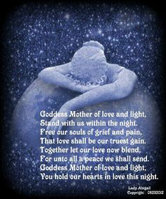 Goddess mother of love and light