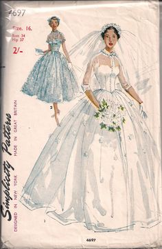 Vintage Bridal Gown Sewing Pattern S4697 Size 11, 14, 16 or 18 | eBay