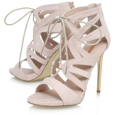 Carvela Game Lace Up Stiletto Sandals, Nude ($92) ❤ liked on Polyvore featuring shoes, sandals, heels, heeled sandals, nude sandals, peep toe flat sandals, denim sandals and nude high heel shoes