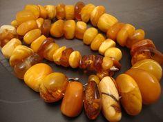 ANTIQUE Amber Necklace: Egg Yolk - Butterscotch