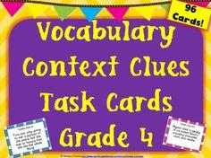 Vocabulary Context Clues Task Cards - Grade 4 (96 Cards)
