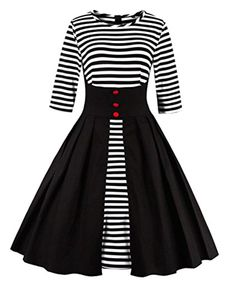 f88219d11aa7e Women s Stripes Vintage Retro 1950s Style Swing Cocktail Dress   Details  can be found by clicking