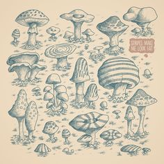 Pity Mushroom Art Print by Salih Gonenli #nature #illustration