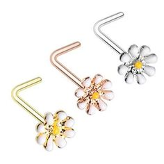 Set Dainty Daisy Flower Steel Nose Rings Bone or L-Shaped >>> Wonderful of your presence to have dropped by to see the photo. (This is an affiliate link) Cute Nose Rings, Cute Nose Piercings, Nose Piercing Jewelry, Body Piercing, Piercing Ideas, L Shaped Nose Ring, Nose Ring Stud, Pretty Nose, Nose Earrings
