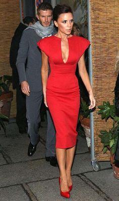 Love this dress and Victoria! ♥♥♥ #victoriabeckham #reddress