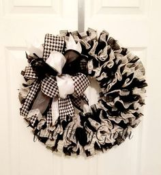 Black and White Wreath | Bridal Shower Decor | Wedding Wreath | Black and White Decor | Shabby Chic Decor | Engagement Party | Wedding Gift